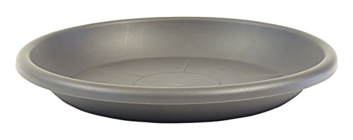 greemotion Plant Saucer Grey Mira 19cm - UV Frost Proof Plant Saucer to be Paired Fiona Garden Pot Series - Plastic Flower Pot Saucers 123926