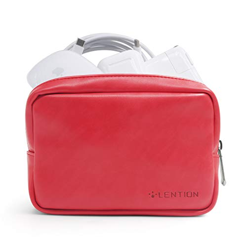 LENTION Split Leather Carrying Storage Pouch, Universal Electronic Accessories Sleeve Case for Laptop/Tablet Power Adapter, MacBook Air/Pro Charger, Wireless Mouse, Mac Gadget and More (Red)