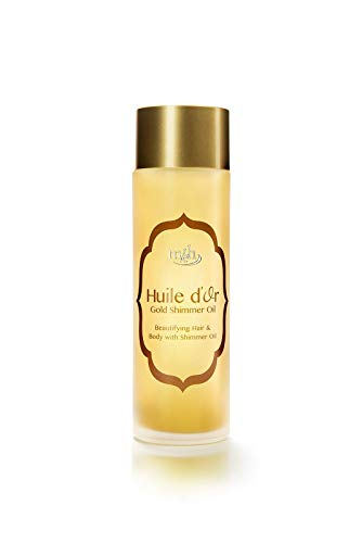 Huile d'Or ALL in ONE High End Premium Hair Face & Body Moisturizing Gold Shimmer Instant Leave-in Oil Damaged Hair Repair Treatment Lotion Frizzy Serum Works Perfect with Flat Iron Made in USA