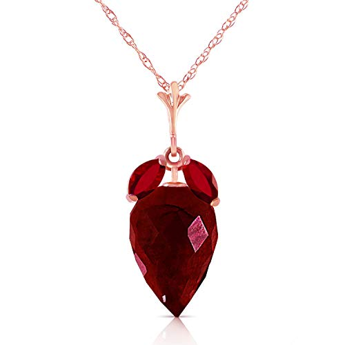 ow Rose Gold Necklace with Marquise & Briolette Drop Natural Ruby (rose-gold, 18) ()