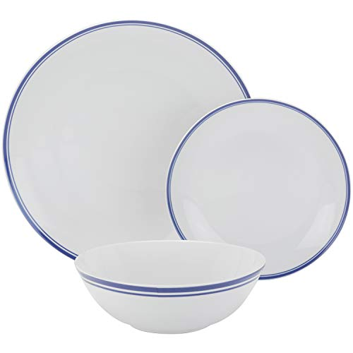 10 Strawberry Street SM-1200-CP-B Coupe Double Line 12 Pc, Navy Dinnerware Set, Dishes, Plates Blue