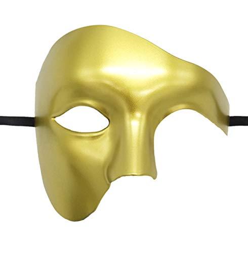 Phantom of The Opera Mask Masquerade Mask Men's Women Mardi Gras Carnival Party Venetian Musical Halloween Vintage Ball Prom (Gold) for $<!--$8.88-->