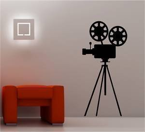 Online Design Movie Camera Tripod Wall Art Sticker Vinyl Lounge - Black & Online Design Movie Camera Tripod Wall Art Sticker Vinyl Lounge ...