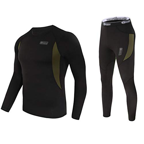 Convallaria Men's Thermal Underwear Sets Ultra Soft Wicking Crew Neck Long Johns Fleece Lined Sweat Bottom and Top Quick Drying for Outdoor Camping Sports Warm Underwear Set Black, L Crew Thermal Long Underwear