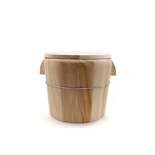 QINGPINHUI Chinese Natural Wooden Barrel Bucket Rice Cooker for Steaming Rice + Wood Flat Lid