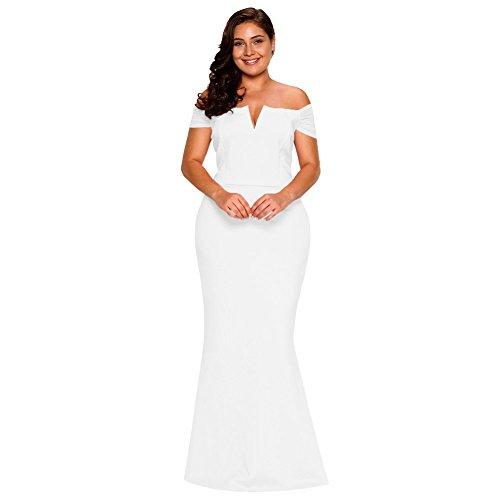 MEI fiesta mujer Larga amp;S vestido collar Noche Prom de White Maxi elegante de Vestido Bustier rArqOwxR