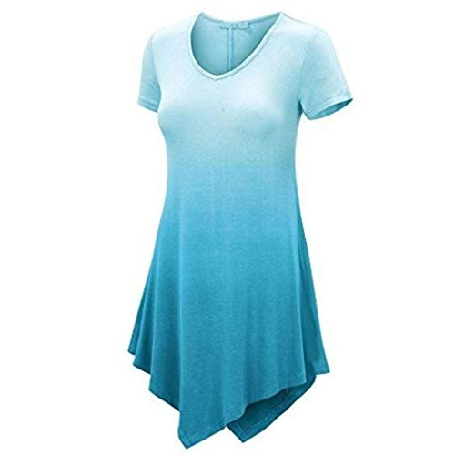 Weiliru Women Round Neck Short Sleeve Evening Party Mini Dress Blue]()