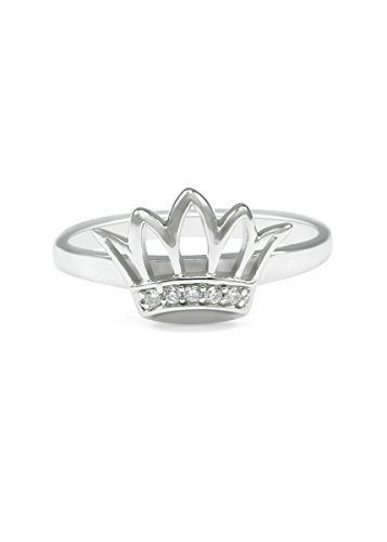 The Collegiate Standard Zeta Tau Alpha Sterling Silver Crown Ring set with Czs (5.0)
