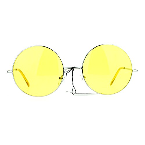 SA106 Hippie Oceanic Gradient Large Circle Lens Sunglasses (Gradient Yellow Lens)