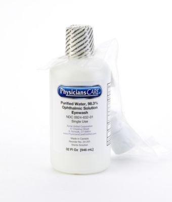 Mutual Industries 50011 Single Bottle Eye Wash Wall Station Refill, 32 oz.