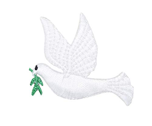 Dove Applique - Left Facing White Dove Iron on Embroidered Patch