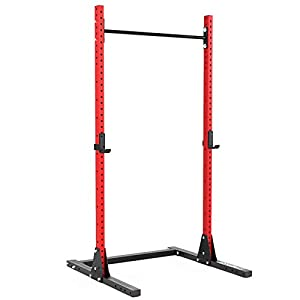 Synergee 750lb Capacity Squat Rack 2×3 Tubes. Power Rack with Adjustable Pull Up Bar & J-Cups. Commercial Grade Squat Stand for Strength Training & Weightlifting.