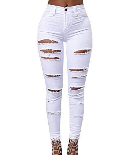 Elástica Pantalones De Blanco Delgado Leggings Lápiz Sólidos Mezclilla Colores Casuales Cintura Mujeres Rasgados Mujer xfIf4qwZr
