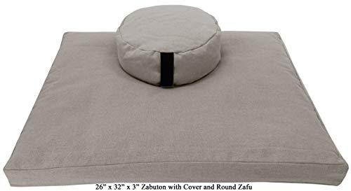 Bean Products Hemp Natural Round 14' Zafu + Zabuton Meditation Cushion Set - Hemp - Organic...