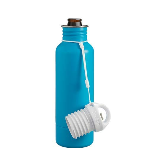 BottleKeeper - The Standard 2.0 - The Original Stainless Steel Bottle Holder and Insulator to Keep Your Beer Colder (Caribbean Blue) ()
