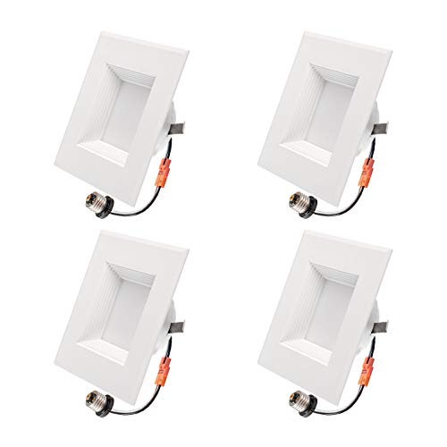 OSTWIN (4 Pack) 4 Inch Dimmable Square LED Ceiling Lights, LED Retrofit Recessed Downlight 9W (65W Replacement) 650 Lm, 3000K (Warm Light), Wet Rated, Energy Star and ETL ()