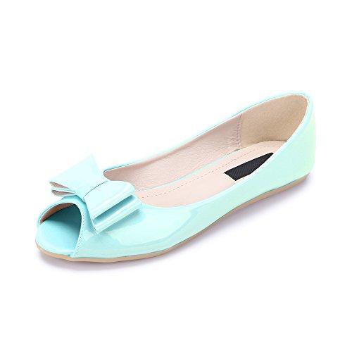Ballet plano de zapatos de cabeza de pescado de la PU Charol Moda para mujer Azul B-5