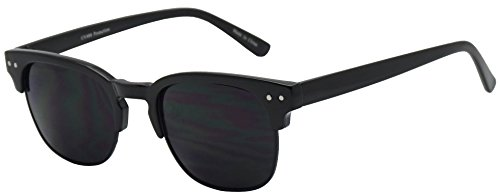 Classic Semi Frame Horned Rim Super Dark Tinted Designer Inspired Unisex Sunglasses (Black Black, - Sunglase