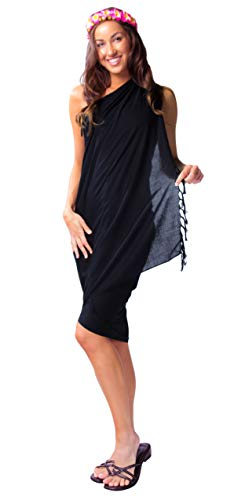 1 World Sarongs Womens Solid Swimsuit Cover-Up Sarong in Black