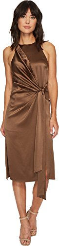 en's Draped Front Satin Dress Sable 6 (Draped Satin Dress)