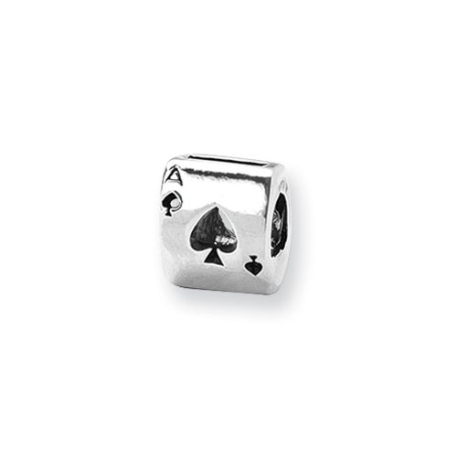Sterling Silver Ace of Spades Bead Charm