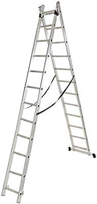 Escalera industrial doble y extensible de 11 peldaños: Amazon.es: Bricolaje y herramientas