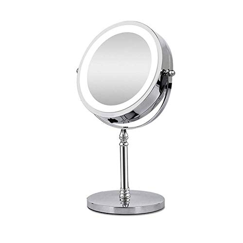 10X Magnifying Makeup Mirror with LED Light Cosmetic Mirrors Round Shape Desktop -