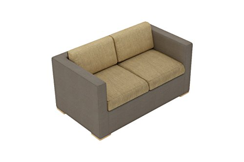 Harmonia Living HL-ELE-TP-LS-HB Element Sling Loveseat with Heather Beige Cushions