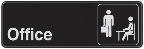 Hillman 841754 Office Visual Impact Self Adhesive Sign, Black and White Plastic, 3x9 Inches 1-Sign