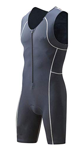 (Spotti Men's Triathlon Tri Suit, Sleeveless Quick Dry Skinsuit - Triathlon Race Suit with Extended Zippers and Pockets, Breathable & Durable (X-Large, Grey))