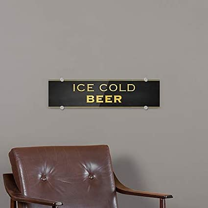 Classic Gold Premium Acrylic Sign Ice Cold Beer 5-Pack 24x6 CGSignLab