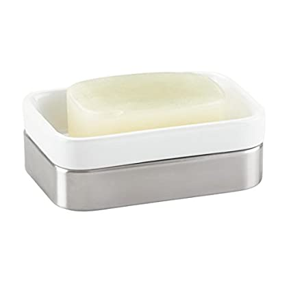 Portasapone Bagno In Ceramica.M Design Mdesign Portasapone Accessorio Bagno Da Appoggio In Ceramica E Acciaio Porta Sapone Colore Bianco Acciaio Spazzolato