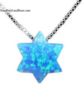 Blue Opal Star of David Necklace (Opal Star Of David Necklace)
