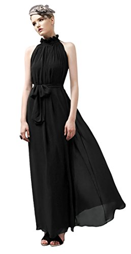 Ball Long Maxi Evening Ruffle Black Dress Gown Summer Chiffon Sleeveless Neck w41BBP