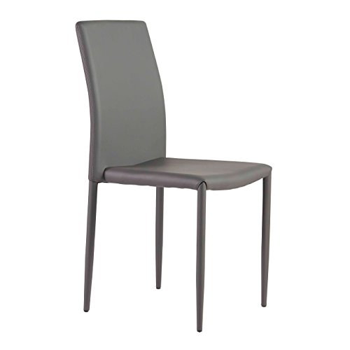 Euro Style 17678DKGRY Sylvia Side Chair, Set of 4, Gray - Euro Style Contemporary Chair