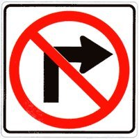 Metal traffic Sign: No Right Turn (with symbol)