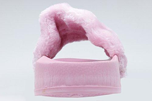 Pantofole Newyoudirect Per Donna, Sandali In Pelliccia Flip Flop Soft Flat Per Interno Rosa Esterno