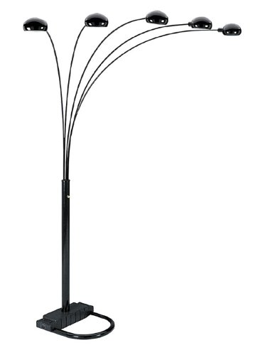 00ORE6962BK 5 Arms Arch Floor Lamp - Black