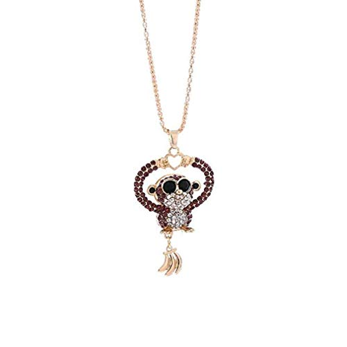 ICHQ Deals Mini Monkey Pendant Necklace Women Charm Colorful Cute Love Mini Monkey Rhinestone Necklace Jewelry (Purple)