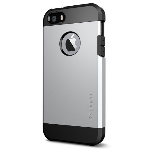 Spigen Tough Armor iPhone 5S / 5 Case with Extreme Heavy Duty Protection and Air Cushion Technology for iPhone 5S / iPhone 5 - Satin Silver
