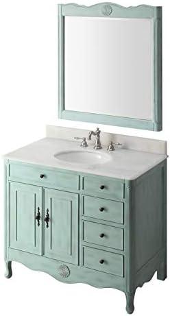 38″ Benton Collection Distressed Light Blue Daleville Bathroom Sink Vanity w/Mirror HF-837LB-MIR