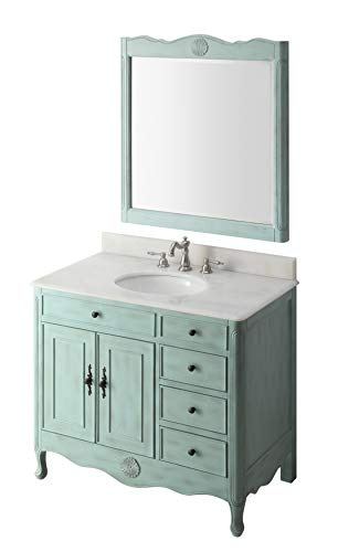 38″ Benton Collection Distressed Light Blue Daleville Bathroom Sink Vanity w/Mirror HF-837LB-MIR For Sale