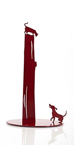 Artori Design Dog vs Cat | Paper Towel Stand Holder | Cute Design Rack (Red Paper Towel Rack)