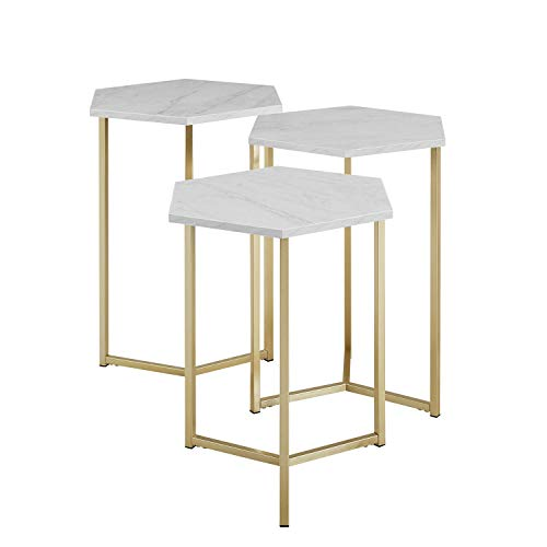 (Priya Home Furniture Modern Glam Design Hex Nesting Tables, Set of 3 - Faux White Marble,Gold)