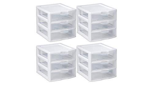 STERILITE Organizer Mini 3 Drawer Wht Sm (Pack of 4)