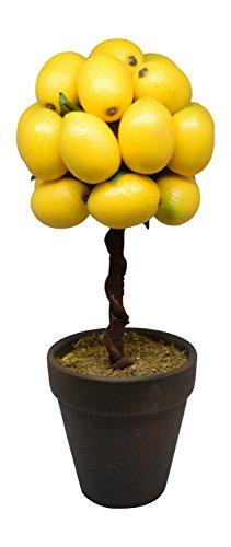 Flora Bunda Artificial Potted Tabletop Fruit Tree, 12 in Tall (Lemon)