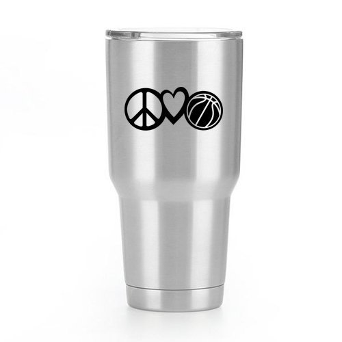 Nba Basketball Car Decal (Peace Love Basketball Vinyl Decal Sticker ( 2 Pack!!! ) | Yeti Tumbler Cup Ozark Trail RTIC Orca | Decals Only! Cup not Included! | Black | 2 - 4 X 1.7 inch | KCD1813)