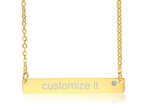 Personalized Custom Name Quote Initial Nameplate Stainless Steel Gold Plated Layered Vertical Bar Necklace (Custom Bar)