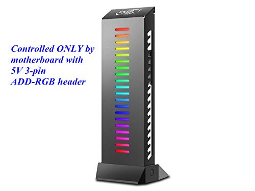 (DEEPCOOL GH-01 A-RGB Graphics Card GPU Brace Support Holder, Addressable RGB, ONLY Controlled by Motherboard with 5V 3-pin ADD-RGB Header, Support up to 5Kg Graphics Card, Wire Hiding)