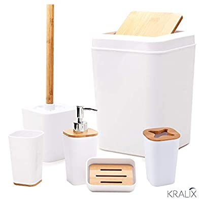 KRALIX Bathroom Set 6 Pieces Plastic Bathroom Accessories Toothbrush Holder, Rinse Cup, Soap Dish, Hand Sanitizer Bottle… - HIGH-QUALITY BAMBOO AND THICK PLASTIC | RESISTANT, DURABLE, AND SHATTERPROOF: With high-quality bamboo, thick shatterproof plastic, and a coat of heavy resin, our bathroom set is durable, resistant to moisture and mold and will never corrode! While extremely enduring, our bathroom set does not compromise on its surprising lightweight and versatility! UNIQUE BAMBOO/RESIN BLENDED DESIGN: With a unique combination of bamboo and sleek modern plastic, this beautiful set can elegantly blend into any bathroom setting, bringing a whole new level of style and class. COMPLETE SIX-PIECE BATHROOM SET: Without needing to make separate purchases, this six accessory assortment conveniently completes your entire bathroom set Bathroom accessories includes: soap dispenser, soap holder, toothbrush holder and cup, Toilet Brush, Trash Can. - bathroom-accessory-sets, bathroom-accessories, bathroom - 31Zwmq6dezL. SS400  -